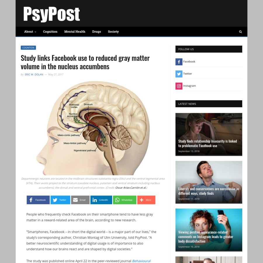 "People who frequently check Facebook on their smartphone tend to have less gray matter in a reward-related area of the brain, according to new research. ""Smartphones, Facebook - in short the digital world - is a major part of our lives,"" the study's corresponding author, Christian Montag of Ulm University, told PsyPost."