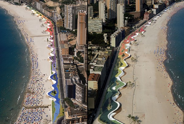 """2005-2009 OAB (Office of Architecture in Barcelona) Benidorm,Spain  """"The promenade in Benidorm, a new transitional location between built city and the natural space of sea and beach. The promenade is not understood as a frontier/borderline but as an intermediary space rendering this transition permeable. It is structured as a place with a rich topography, as a dynamic space that accommodates the act of strolling and watching the sea, but also organizes different areas for stopping and relaxing in. The promenade subsumes the longitudinal and transverse flows of the different circulations and channels these, allowing easy access to the beach. It eliminates architectural barriers, permitting direct access from parking places.""""  http://ferrater.com/?oab_proyecto=benidorm&idioma=_en#"""