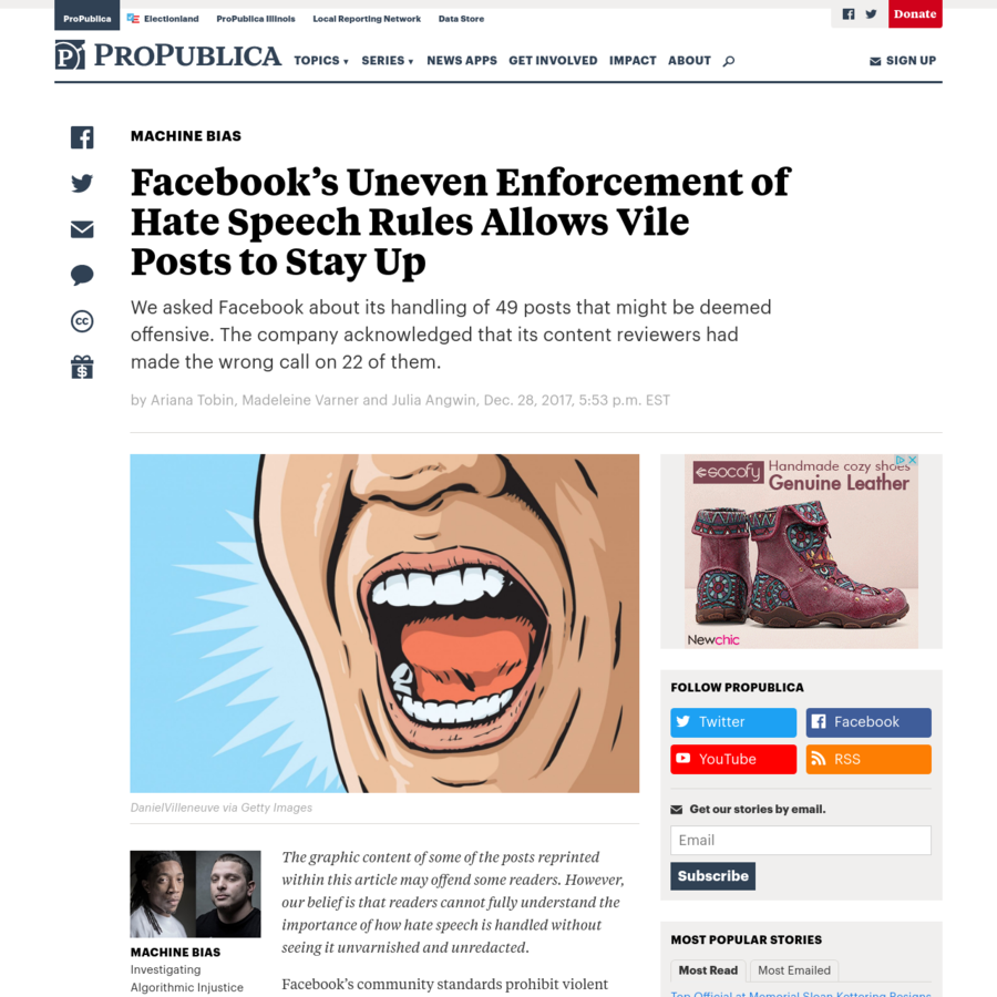 The graphic content of some of the posts reprinted within this article may offend some readers. However, our belief is that readers cannot fully understand the importance of how hate speech is handled without seeing it unvarnished and unredacted. Facebook's community standards prohibit violent threats against people based on their religious practices.