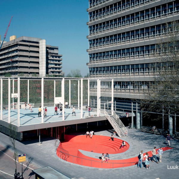 """(Semi-Public?) NL Architects for the University of the City of Utrecht.  2013.  """"The BasketBar is a Grand Café and Bookshop at the University Campus of the CIty of Utrecht.  On the basis of a master plan by OMA / Art Zaaijer, the Campus is developing from a 'mono culture' into something that could be called a 'city'.  It became clear that the area needed something like a bar.  And restaurant too.  The BasketBar is the extension of an existing bookstore.  By extending the graceful flatness of the existing structure in two directions, the roof became large enough for a basketball court.  The basketball court was not part of the original assignment; it was an opportunity that emerged.   But why basketball?  Basketball is non-discriminatory.  Basketball is a flexible sport. There are many ways to shoot hoop - Alone, with 2 teams of any size, even 4 teams is possible on one court...  And basketball has become a """"logo"""" for urban life.  And exactly taht is what the Campus seemed to lack...""""  http://www.nlarchitects.nl/slideshow/92/ ________________________________ A cool project, worth taking a look at.  NL has employed icons of urban life as building material.  The result is a cheerful yet sleek celebration of quaint urbanism."""