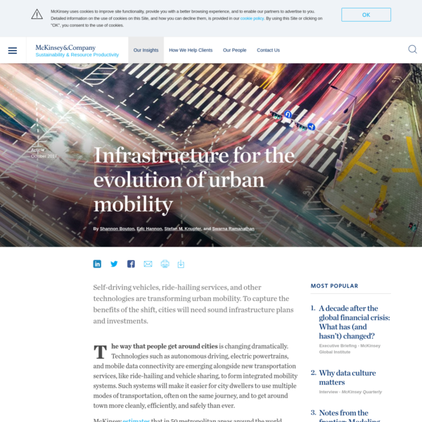 Infrastructure for the evolution of urban mobility