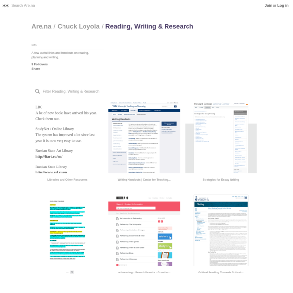 A few useful links and handouts on reading, planning and writing.