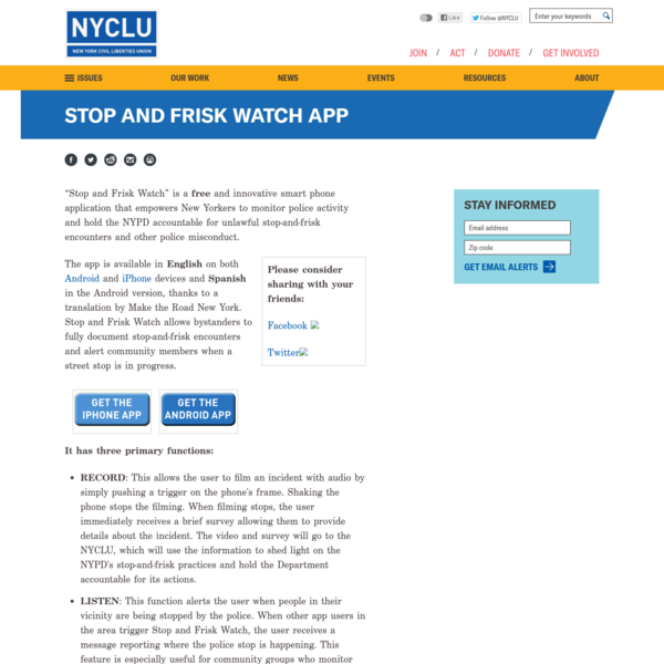 Stop and Frisk Watch App
