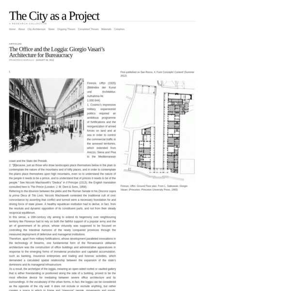 The City as a Project | The Office and the Loggia: Giorgio Vasari's Architecture for Bureaucracy