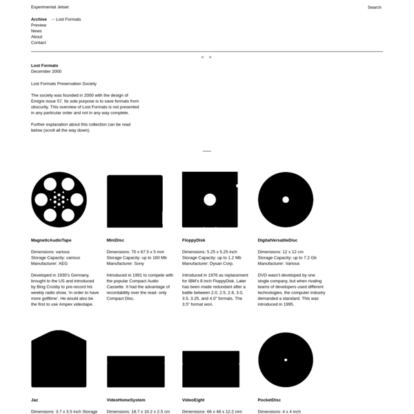 Lost Formats Preservation Society The society was founded in 2000 with the design of Emigre issue 57. Its sole purpose is to save formats from obscurity. This overview of Lost Formats is not presented in any particular order and not in any way complete.