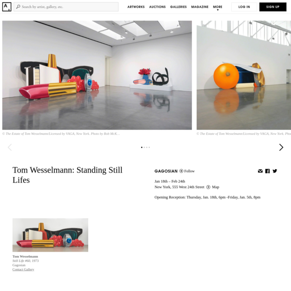 Past show featuring works by Tom Wesselmann at Gagosian New York, 555 West 24th Street Jan 18th - Feb 24th