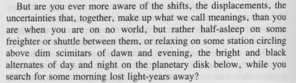 Delany, Samuel R., _Stars in My Pocket Like Grains of Sand_ (New York: Bantam Books, 1984), p. 360.