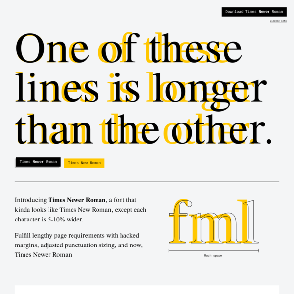 A font that kinda looks like Times New Roman, except each character is 5-10% wider.