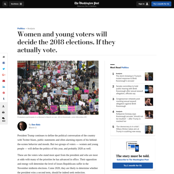 President Trump continues to define the political conversation of the country with Twitter blasts, public statements and often alarming reports of his behind-the-scenes behavior and moods. But two groups of voters - women and young people - will define the politics of this year, and probably 2020 as well.