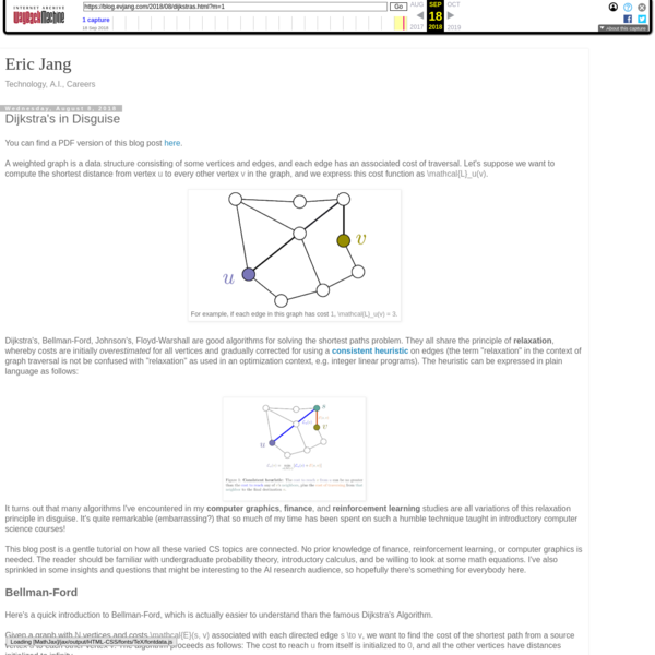 """You can find a PDF version of this blog post here. Dijkstra's, Bellman-Ford, Johnson's, Floyd-Warshall are good algorithms for solving the shortest paths problem. They all share the principle of relaxation, whereby costs are initially overestimated for all vertices and gradually corrected for using a consistent heuristic on edges (the term """"relaxation"""" in the context of graph traversal is not be confused with """"relaxation"""" as used in an optimization context, e.g."""
