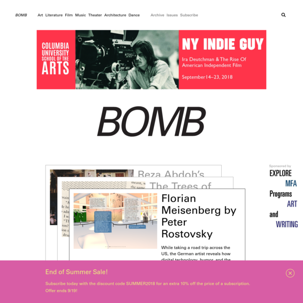 BOMB Magazine has been publishing conversations between artists of all disciplines since 1981.