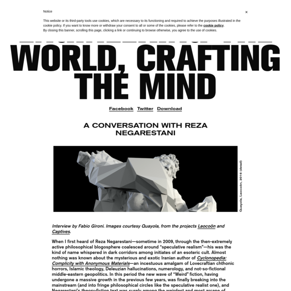 """A conversation with Reza Negarestani Interview by Fabio Gironi. Images courtesy Quayola, from the projects Laocoön and Captives. When I first heard of Reza Negarestani-sometime in 2009, through the then-extremely active philosophical blogosphere coalesced around """"speculative realism""""-his was the kind of name whispered in dark corridors among initiates of an esoteric cult."""