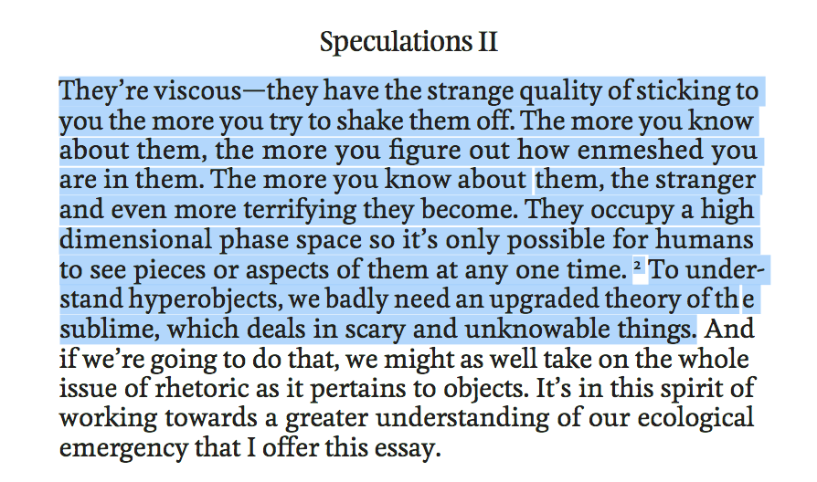 Timothy Morton about Hyperobjects