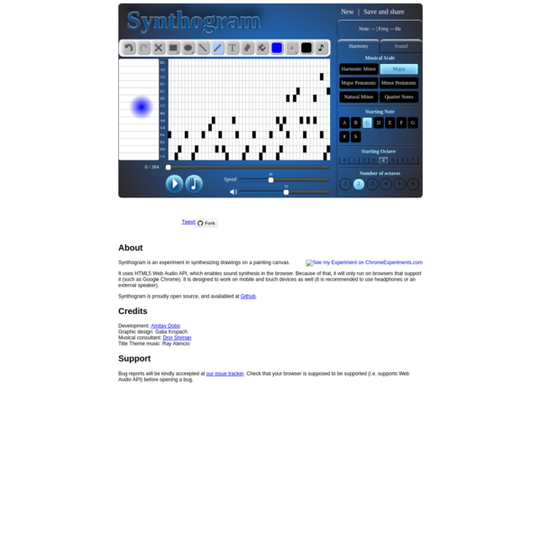 Synthogram - synthesize and play painted sounds, using HTML5 canvas and web audio API