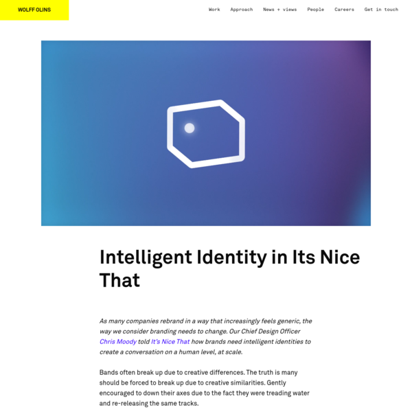 Intelligent Identity in Its Nice That