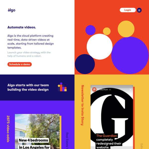 Algo is the cloud platform creating real-time, data-driven videos at scale, starting from tailored design templates. Meet the Self-Driving videos. A tech division of design studio Illo.