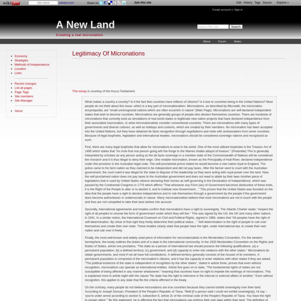 Legitimacy Of Micronations - A New Land