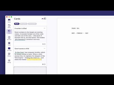 "An interesting tool for long-form story writing. Despite the clunky ""card"" interface, this tool seems to do a good job at letting authors break a story down into constituent beats, reordering them to create a good flow.  What really caught my eye was the story arc feature [(starts at 1:35)](https://youtu.be/UbTFseqyZAI?t=1m34s). It lets writers visualize the ebb and flow of themes in their narrative."