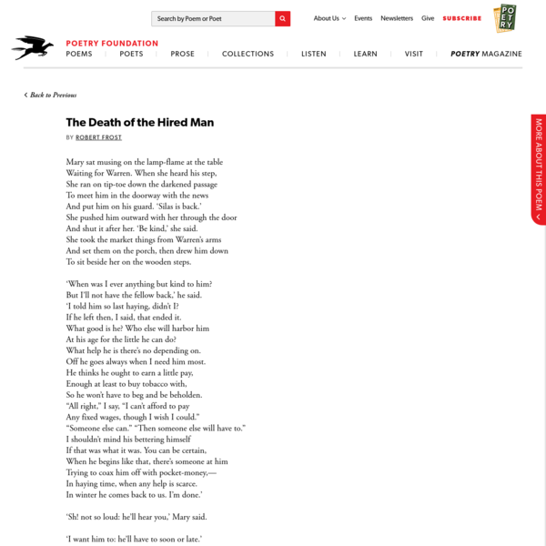 The Death of the Hired Man by Robert Frost