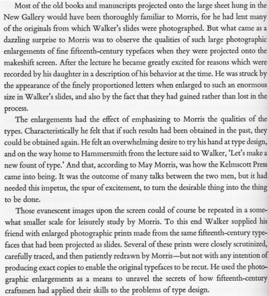 """Dreyfus, John, """"William Morris as Typographer"""" (1976).  The Pierpont Morgan Library, _William Morris and the Art of the Book_ (Oxford: Oxford University Press, 1976), p. 78."""