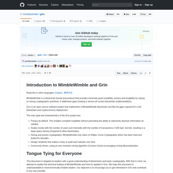 Minimal implementation of the MimbleWimble protocol. - mimblewimble/grin