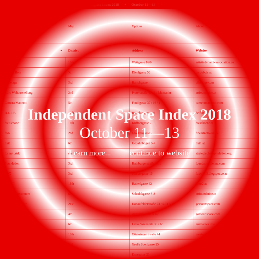 The Independent Space Index is a comprehensive index of local artist-run and independent art spaces in Vienna, Austria.