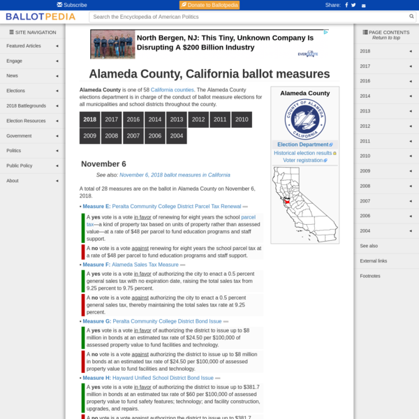 Alameda County is one of 58 California counties. The Alameda County elections department is in charge of the conduct of ballot measure elections for all municipalities and school districts throughout the county. A total of 28 measures are on the ballot in Alameda County on November 6, 2018.