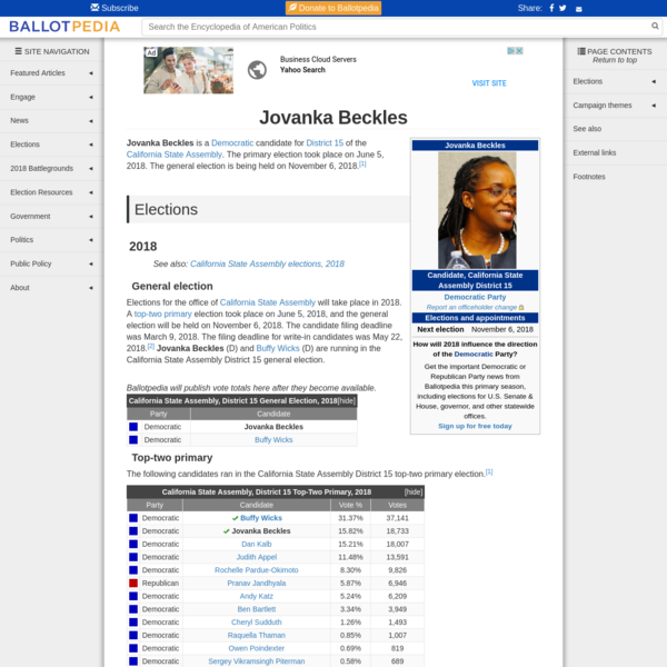 How will 2018 influence the direction of the Democratic Party? Get the important Democratic or Republican Party news from Ballotpedia this primary season, including elections for U.S. Senate & House, governor, and other statewide offices. Sign up for free today Jovanka Beckles is a Democratic candidate for District 15 of the California State Assembly.