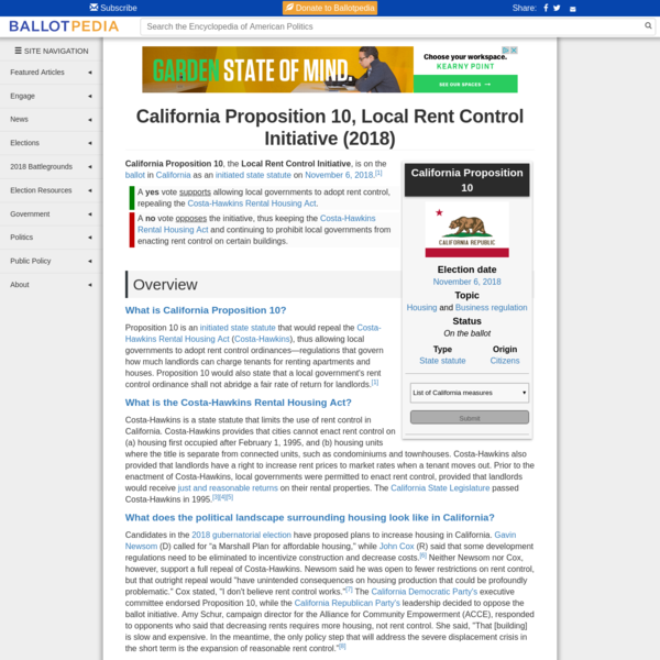 California Proposition 10, the Local Rent Control Initiative, is on the ballot in California as an initiated state statute on November 6, 2018. A no vote opposes the initiative, thus keeping the Costa-Hawkins Rental Housing Act and continuing to prohibit local governments from enacting rent control on certain buildings.