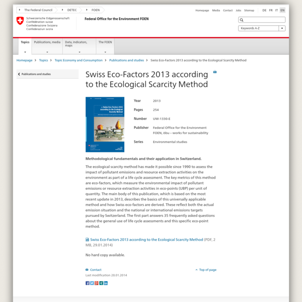 Methodological fundamentals and their application in Switzerland. The ecological scarcity method has made it possible since 1990 to assess the impact of pollutant emissions and resource extraction activities on the environment as part of a life cycle assessment.