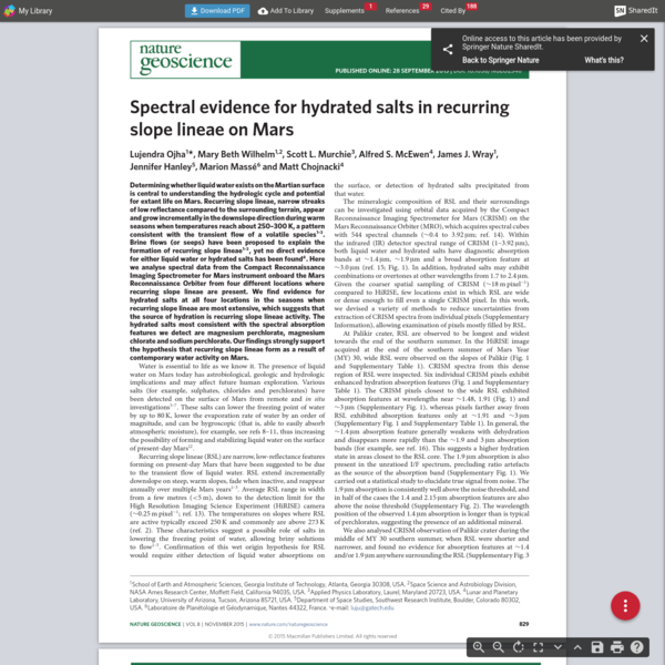 Spectral evidence for hydrated salts in recurring slope lineae on Mars