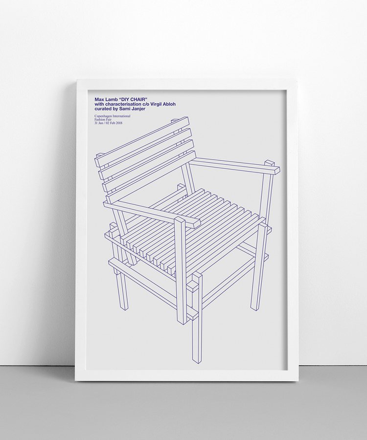 Max Lamb DIY Chair  with characterisation c/o Virgil Abloh  curated by Sami Janjer  Copenhagen International Fashion Fair  31 Jan / 02 Feb 2018