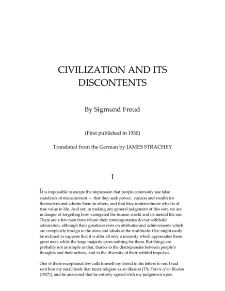 Civilization and its Discontents by Sigmund Freud (1930)