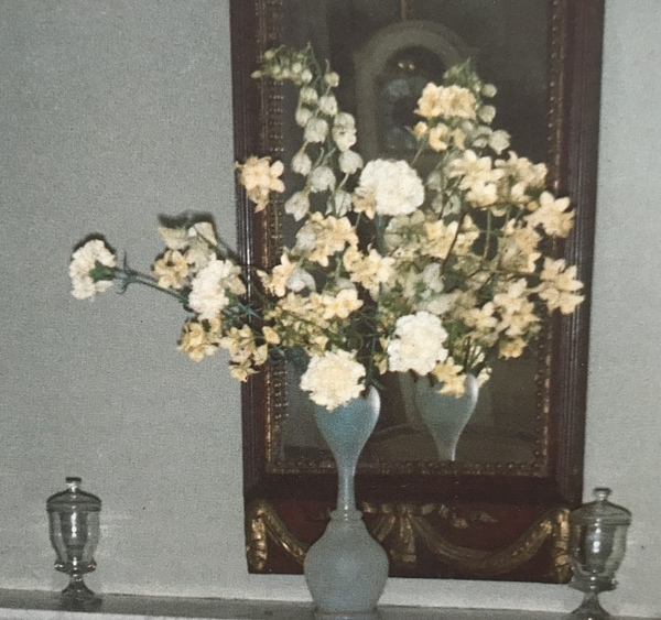 Florist's flowers and garden flowers: white and cream bouquet of carnations, delphinium and false jasmine