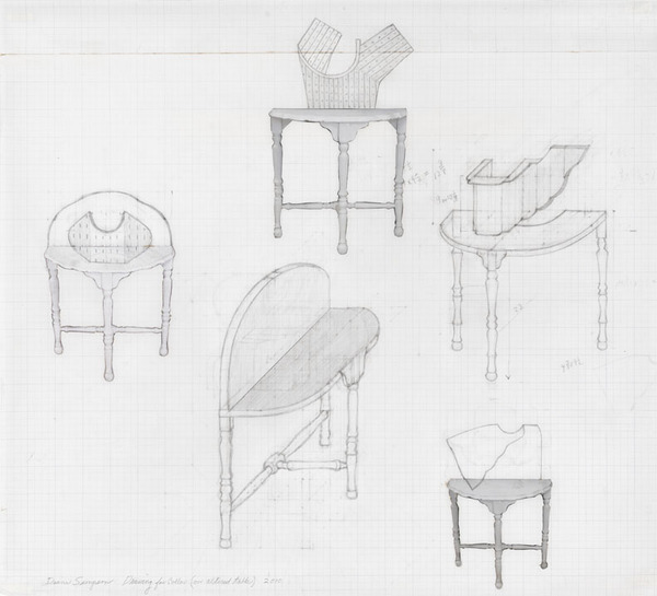 Diane Simpson, Drawing for Collar (on altered table), 2010