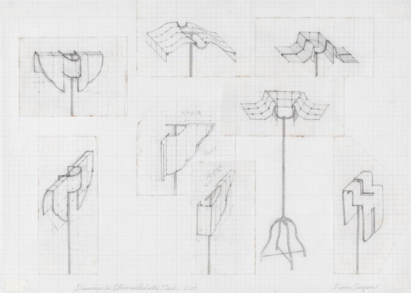 Diane Simpson, Drawings for Collars and Vest with Stand, 2010