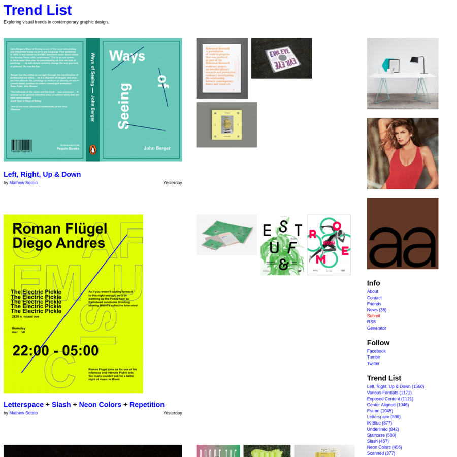 Trend List - Exploring visual trends in contemporary graphic design.
