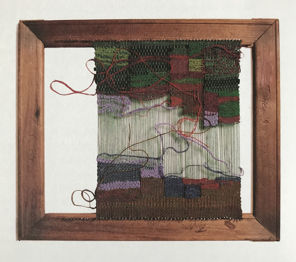 Sheila Hicks, Rectangular frame with cotton, leather silk, and linen work-in-progress, 2003