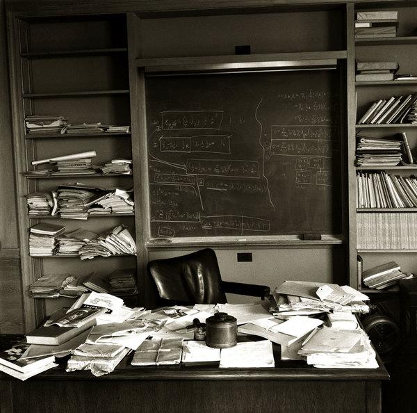 Albert Einstein's office - just as the Nobel Prize-winning physicist left it - taken mere hours after Einstein died, Princeton, New Jersey, April 1955.  http://time.com/3494553/the-day-albert-einstein-died-a-photographers-story/