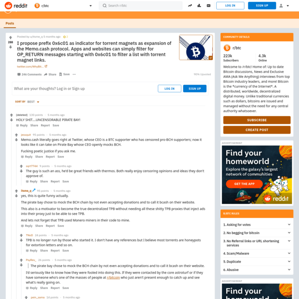 r/btc: Welcome to /r/btc! Home of: Up to date Bitcoin discussions, News and Exclusive AMA (Ask Me Anything) interviews from top Bitcoin industry leaders, and more! Bitcoin is the *currency of the Internet*. A distributed, worldwide, decentralized digital money. Unlike traditional currencies such as dollars, bitcoins are issued and managed without the need for any central authority whatsoever.