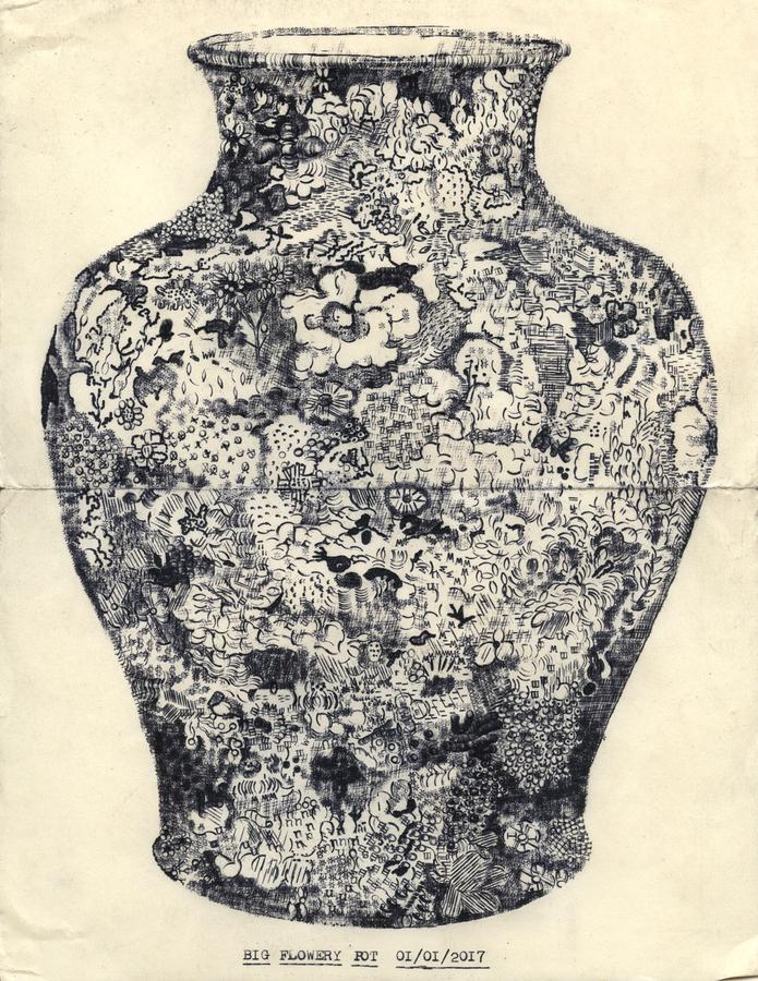 Lenka Clayton, Big Flowery Pot, typewriter drawing, 2017