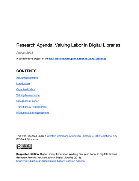 Research Agenda: Valuing Labor in Digital Libraries