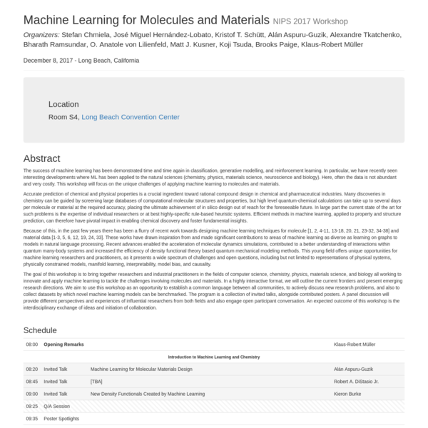 The success of machine learning has been demonstrated time and time again in classification, generative modelling, and reinforcement learning. In particular, we have recently seen interesting developments where ML has been applied to the natural sciences (chemistry, physics, materials science, neuroscience and biology). Here, often the data is not abundant and very costly.
