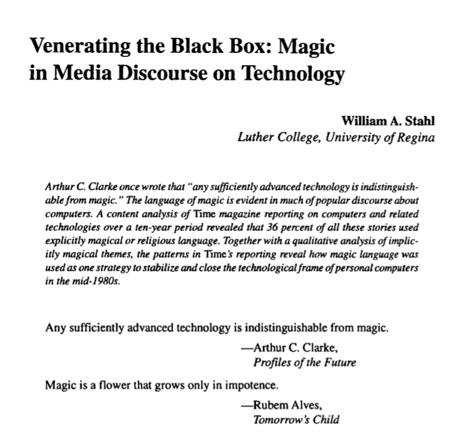 Venerating the black box: Magic in media discourse on technology