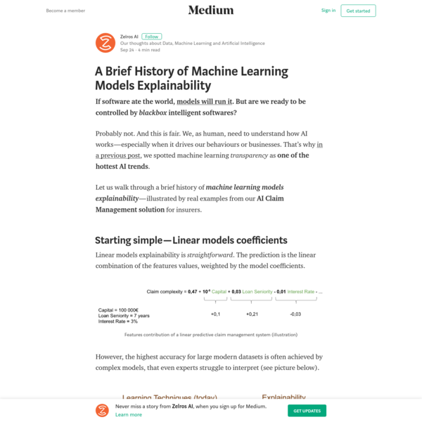 A Brief History of Machine Learning Models Explainability