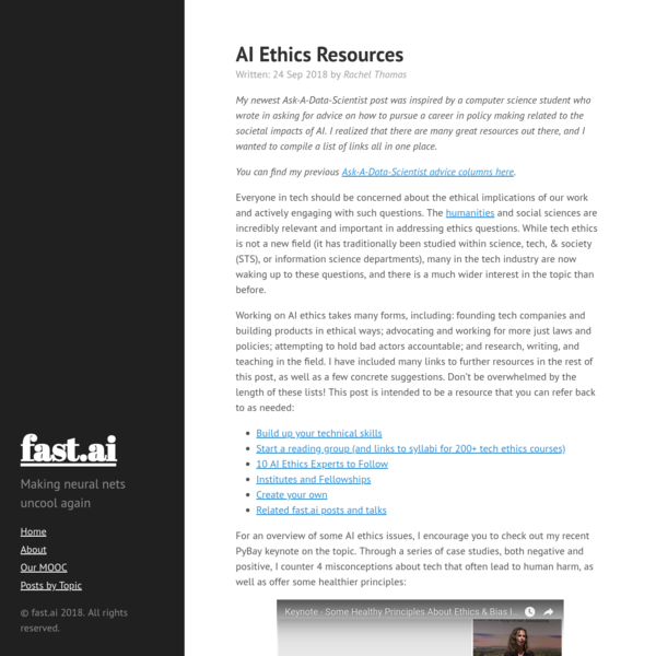 Working on AI ethics takes many forms, including: founding tech companies and building products in ethical ways; advocating and working for more just laws and policies; attempting to hold bad actors accountable; and research, writing, and teaching in the field.