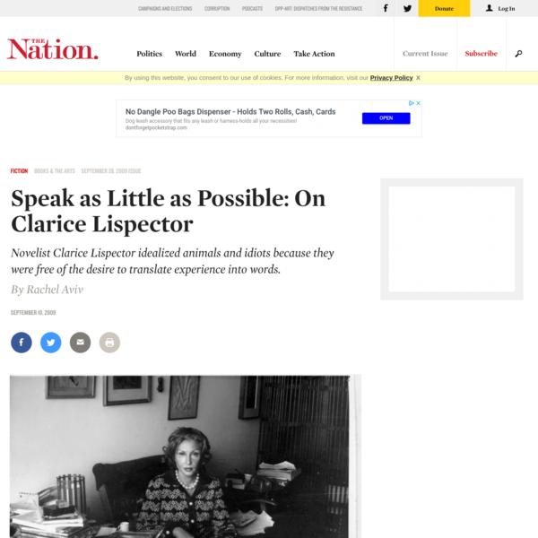 Speak as Little as Possible: On Clarice Lispector