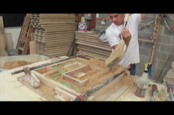 This video shows how cast stone is made at Archway System, Inc. We start with 4 parts sand, 1 part portland cement, 1 part proprietary mix, and 1 part water. Nick Holland and Julio Ibarra are the craftsmen. The cast stone must cure with humidity and a constant temperature.