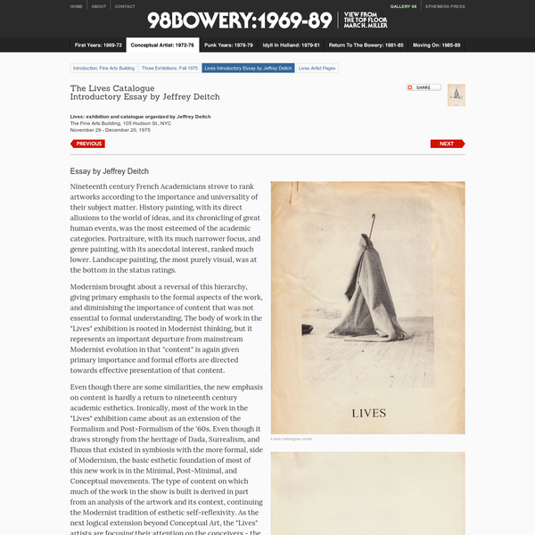 Lives Catalogue Introductory Essay by Jeffrey Deitch - 98 Bowery: 1969-1989