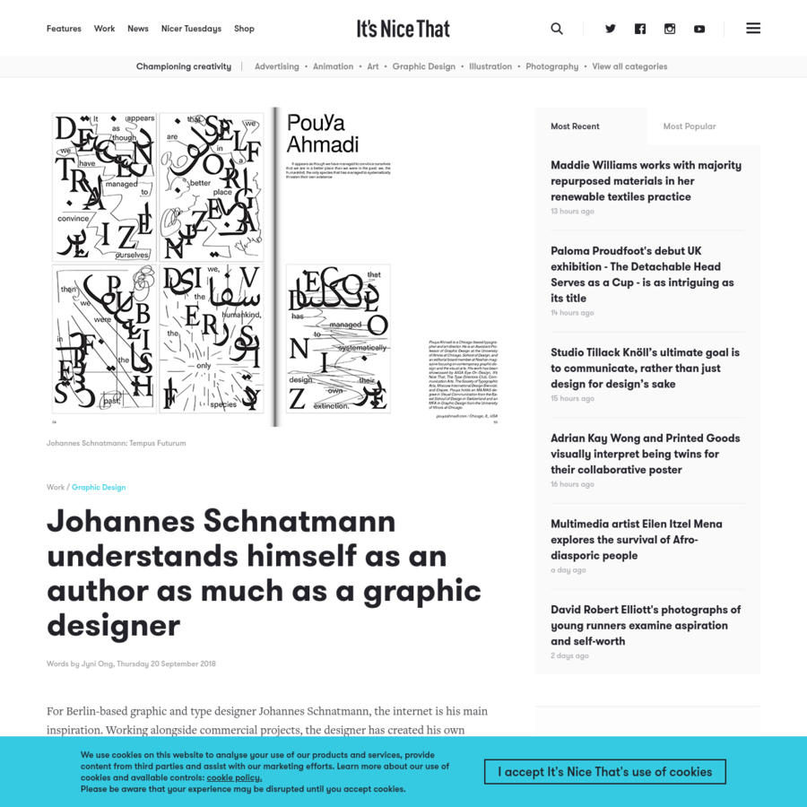 For Berlin-based graphic and type designer Johannes Schnatmann, the internet is his main inspiration. Working alongside commercial projects, the designer has created his own publication _Tempus Futurum_ which explores the idea of a utopian design process.